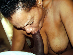 Naked old black wife sucks BBC