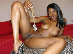 Glamour black gals posing nude for..